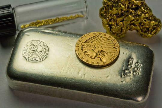 10 Ounce Silver Bullion Bar, 1911 Gold $5 Indian Coin and Natural Gold Nuggets