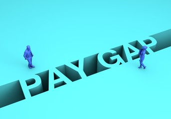 Gender pay gap concept. Businesswoman and businessman on two sides of the pay gap. 3D Rendering