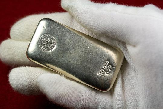 10 Ounce Silver Bullion Bar Held in Hand