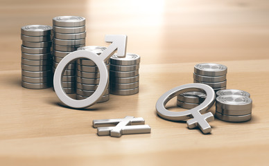 Concept de féminisme, sexisme. Inégalités de genre, différences de salaires entres hommes et femmes