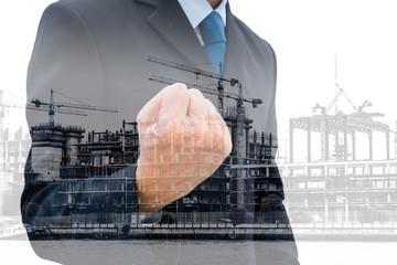 Double exposure construction business success concept