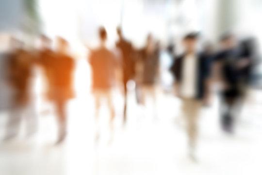 Abstract zoom blur people walking