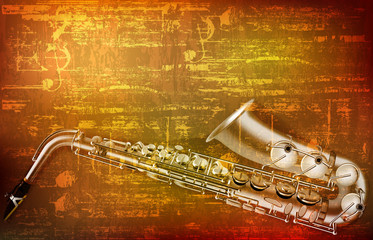abstract grunge background with saxophone Fotobehang