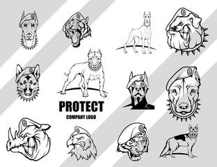 Set Of Dog. Security company vector logo design template. Protection logo. Dog in uniform. Logo icon design.