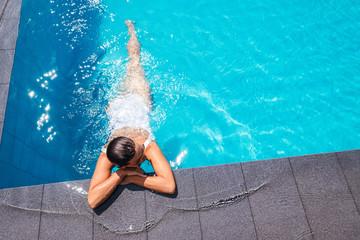 Woman relax in swimming pool