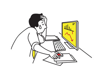 Businessman depressed with graph falling down