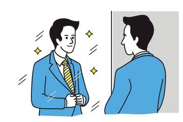 Looking himself at mirror