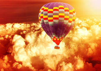 Hot air balloon flying over Clouds in a Sky fluffy texture