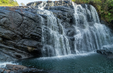 Waterfall spring Panoramic rocks Falls in Horton Plains National Park Sri Lanka.