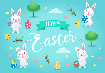 Happy Easter - a cute cartoon Easter bunny with spring landscape, eggs, flowers, chichen, trees. Vector illustration design template