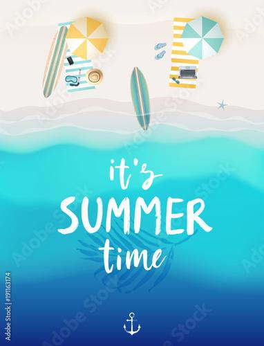 Wall mural Tropical beach poster.