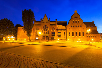Architecture of the Baltic Philharmonic in Gdansk at night, Poland