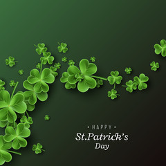 St. Patrick's Day card. Clover leaves on dark green background for greeting holiday design. Vector illustration.