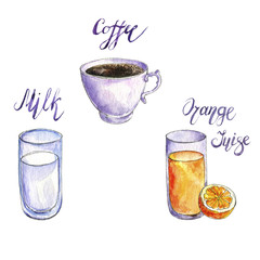 watercolor drawng drinks
