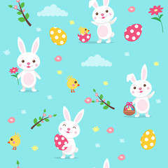 Happy Easter seamless vector pattern with cute cartoon Easter Bunny, eggs, spring flowers.