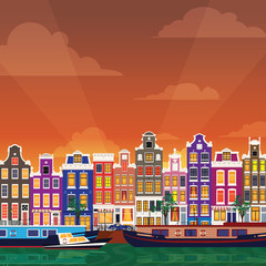 Flat cartoon multicolor colorful historic buildings city town Amsterdam panorama Holland.