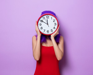 girl with purple hair and big clock