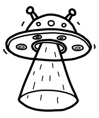 alien spaceship / cartoon vector and illustration, black and white, hand drawn, sketch style, isolated on white background.