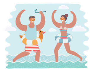 Vector cartoon funny illustration of man and woman running together in the in the water.