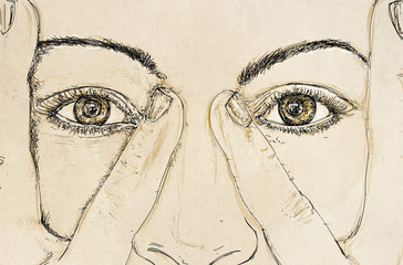 woman's eyes for banners with his hands on his temples