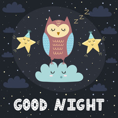 Good night card with a cute sleeping owl and stars. Vector illustration