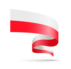 Poland flag in the form of wave ribbon.