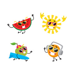 Vector cartoon summer fruit characters in sun glasses icon set. Orange in headphones, apple surfer, watermelon dancing, cool sun in glasses having fun smiling. Isolated illustration