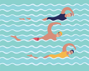 Horizontal illustration with swimmers in swimming pool.