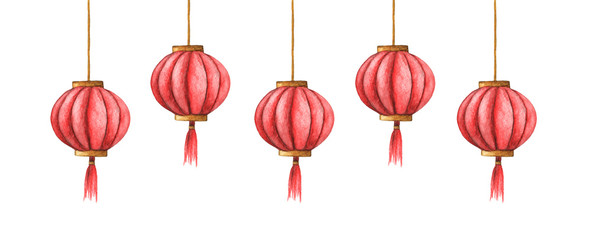 Hand-drawn watercolor illustration of the chinese lanterns isolated on the white background. Chinese red lights