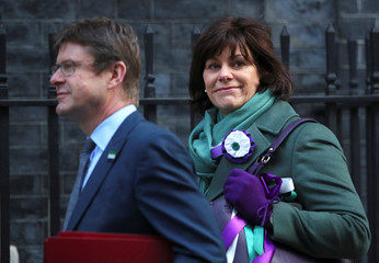 Britain's Minister of State for Energy and Clean Growth Claire Perry and Secretary of State for Business Greg Clark arrive in Downing Street in London