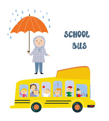 School bus and kid at the stop under the rain - concept of safety and protection. Vector graphic illustration