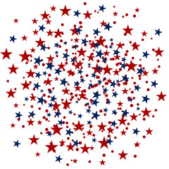 USA celebration confetti stars in national colors for American independence day