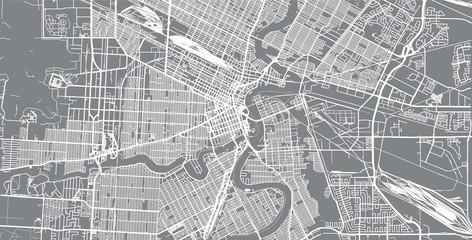 Urban vector city map of Winnipeg, Canada