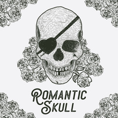 Hand drawn skull with rose. Romantic skull with rose flower in the mouth. human skull vector illustration for t-shirt design, poster, vintage card. Vector illustration