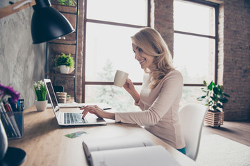 Concept of having a workplace at home. Side profile half-faced photo of happy cheerful smiling excited woman drinking coffee and typing a letter on computer