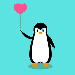 cartoon penguin with a pink ball