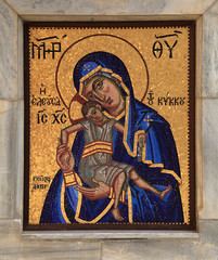 Orthodox mosaic icon of Mother of God, Kykkos Monastery, Cyprus