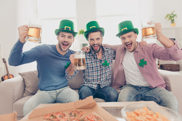 St Patrick's day concept. Close up portrait of  cheerful, positive excited successful stylish lucky guys with bristle in green hats having glasses with lager in hands, looking at camera, yelling