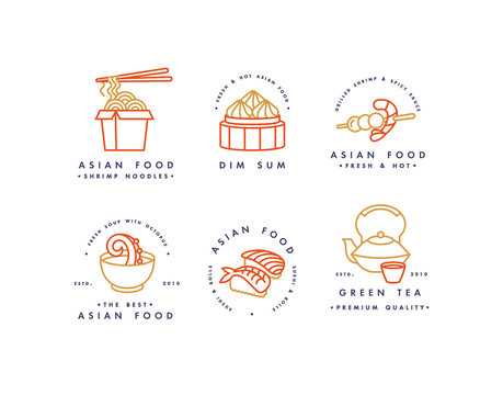 Vector set of logo design templates and emblems or badges. Asian food - noodles, dim sum, soup, sushi. Linear logos.