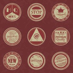 Grunge stamp collection. Set of templates of round labels. Vintage style