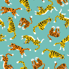 Vector seamless pattern with tigers isolated on the blue background. Animal background for fabric or wallpaper design.