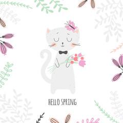 Cartoon cat with tulips