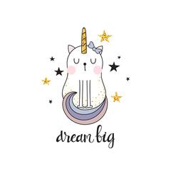 Cute unicorn cat and inscription