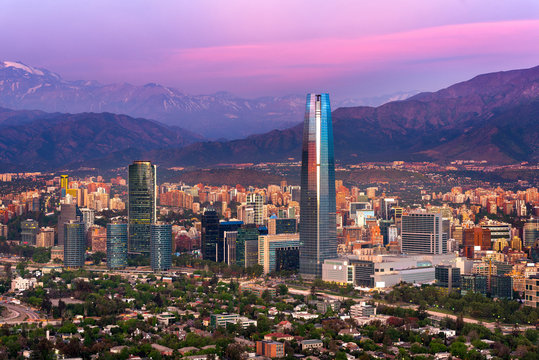 Panoramic view of Santiago de Chile with the Andes mountain range in the back