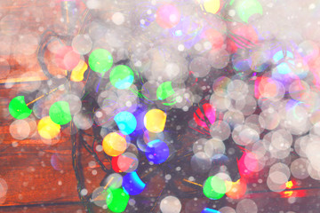 Christmas Glowing Lights. Merry Christmas and Happy New Year. Festive background