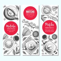Matcha tea. Vector illustration for Tea Shop. Vintage banner collection. Japanese traditions of tea ceremony. Vintage elements for design. Matcha vector Illustration.