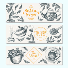 Tea shop banner set. Horizontal banner collection for tea design. Linear graphic. Vector illustration.