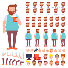 Flat Vector Bearded Man character for your scenes. Character creation set with various views, hairstyles, face emotions, lip sync and poses. Parts of body template for design work and animation.
