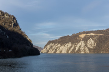 The Danube gorge in the evening. Dark side is Romania and sunny one is Serbia