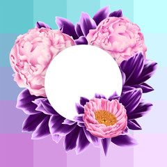 Vector Card with Pink Peonies and Purple Leaves on Geometrical Background